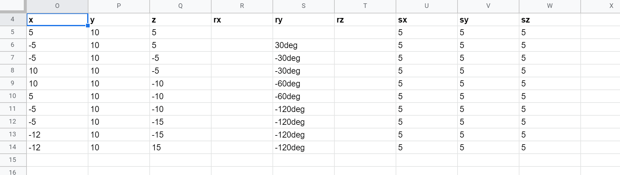 Sheets Organized Positions